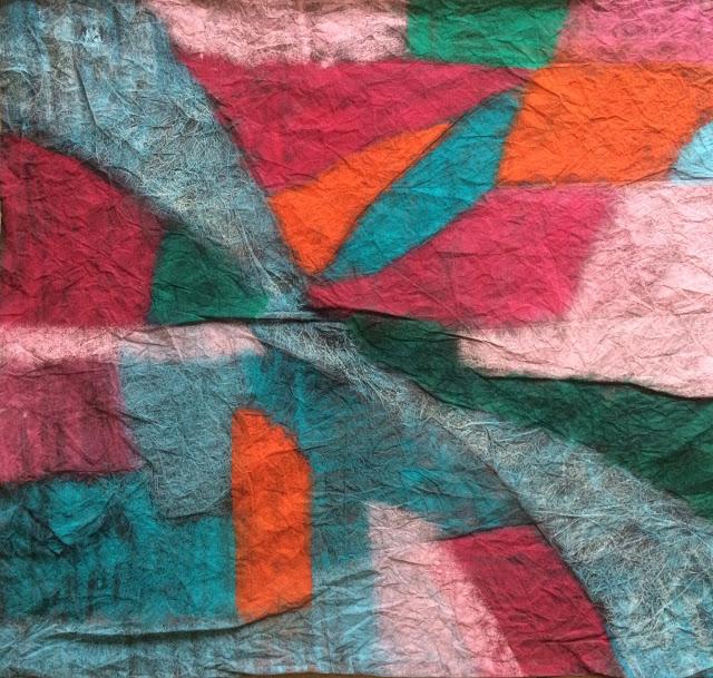 20160422 100x100 papier chiffonne encre et pastels