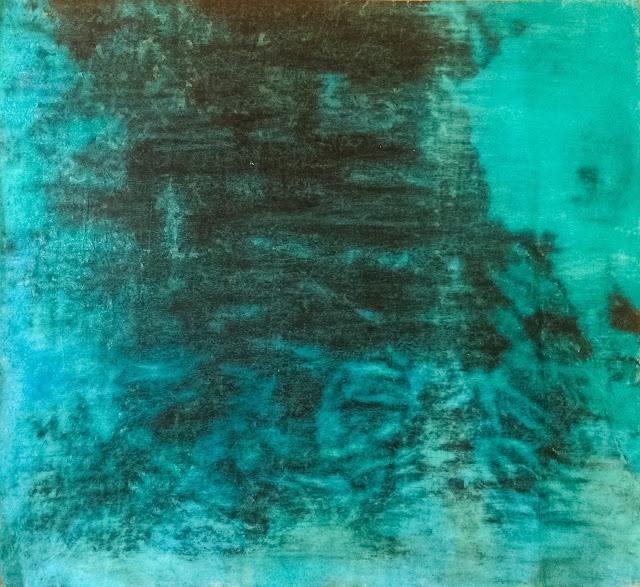 20170114 encre et pastels turquoise 70x70cm